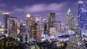Bangkok-Cityscape-with-sunset-at-before-night-in-