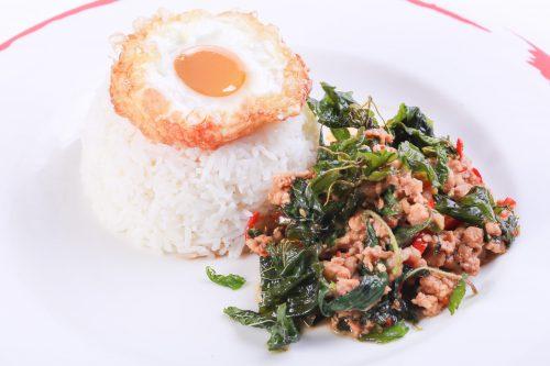 Phad Krapao with pork & fried egg