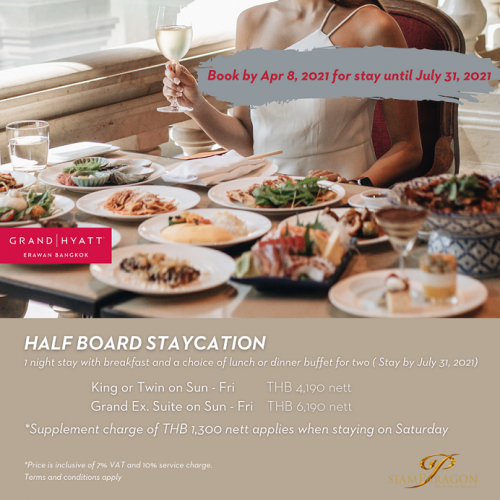 Siam Paragon 30 March- 8 April Half Board Staycation promotion