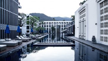 Beautiful hotel with a great pool, holiday concept